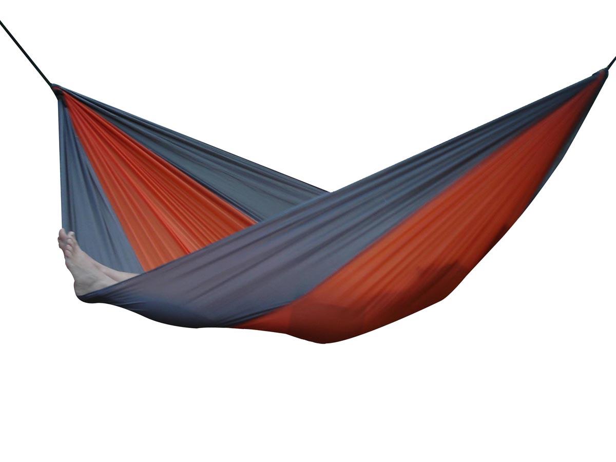 Dubbel-hängmatta i fallskärmssilke Grey Orange